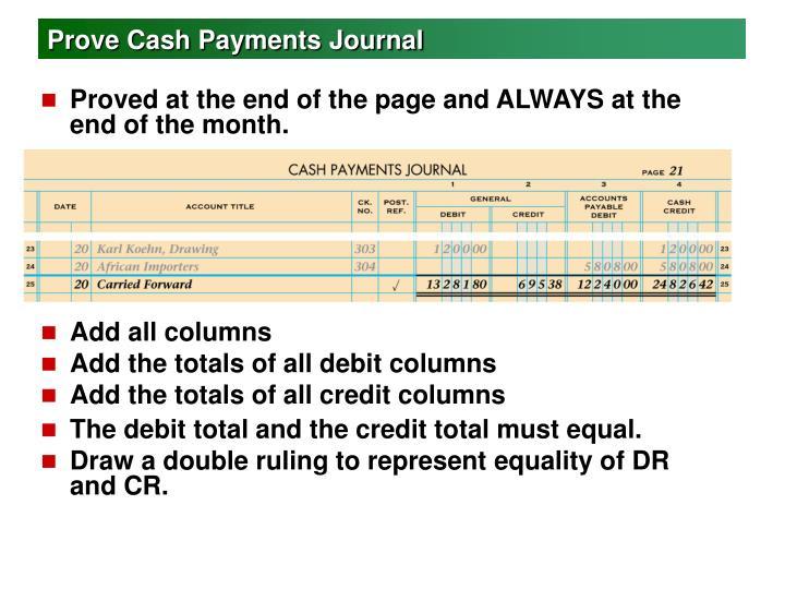 Prove Cash Payments Journal