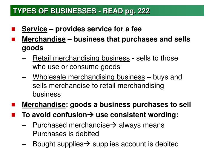TYPES OF BUSINESSES - READ pg. 222