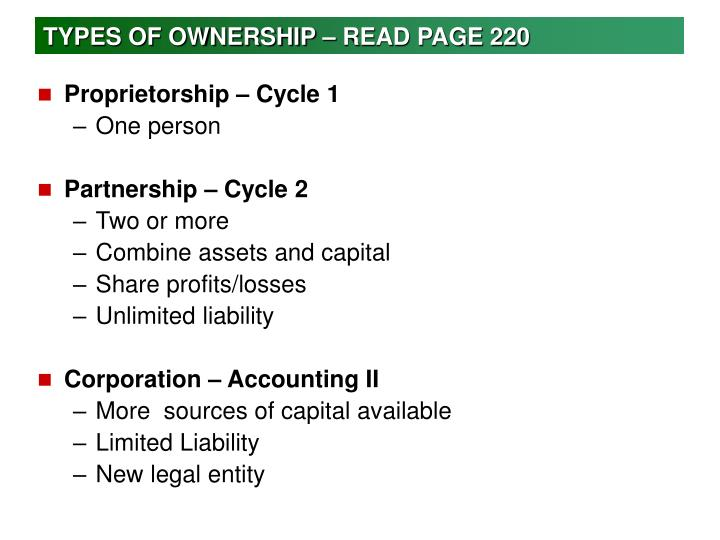 TYPES OF OWNERSHIP – READ PAGE 220