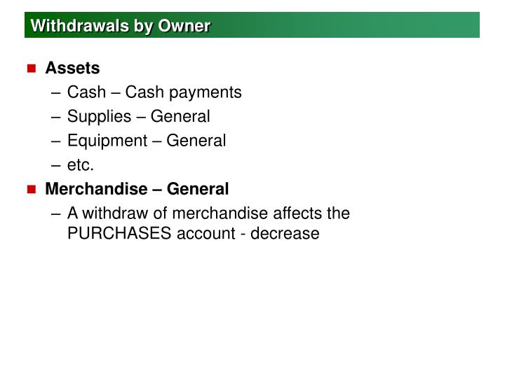 Withdrawals by Owner