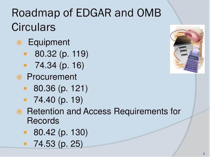 Roadmap of EDGAR and OMB Circulars