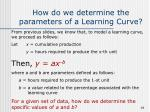 how do we determine the parameters of a learning curve