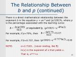 the relationship between b and p continued