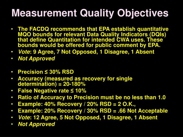 Measurement Quality Objectives