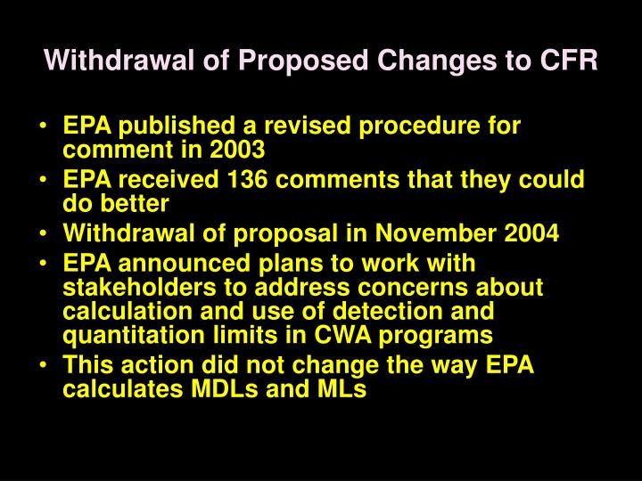 Withdrawal of Proposed Changes to CFR