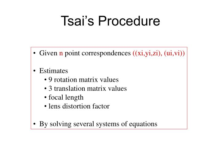 Tsai's Procedure