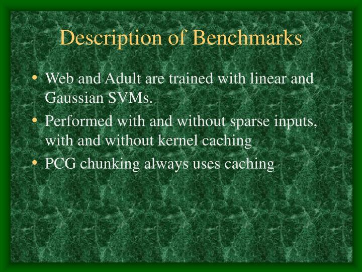 Description of Benchmarks