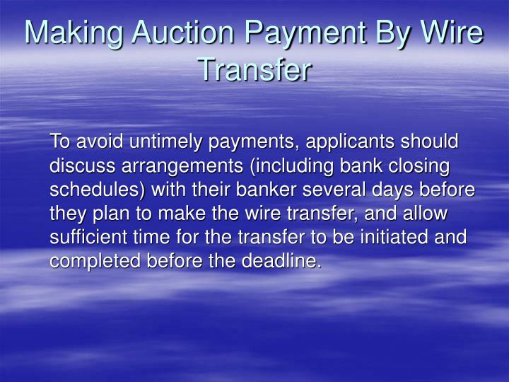 Making Auction Payment By Wire Transfer