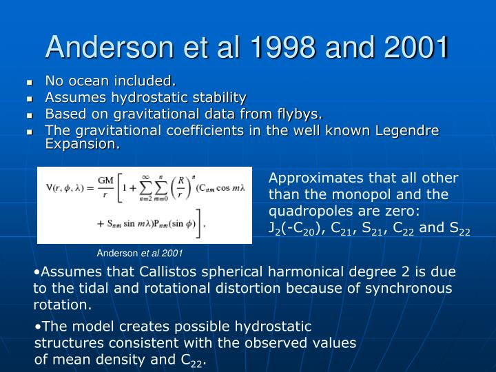 Anderson et al 1998 and 2001