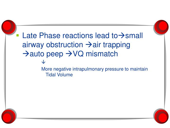 Late Phase reactions lead to