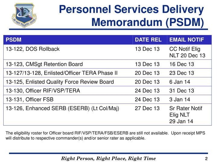Personnel Services Delivery Memorandum (PSDM)