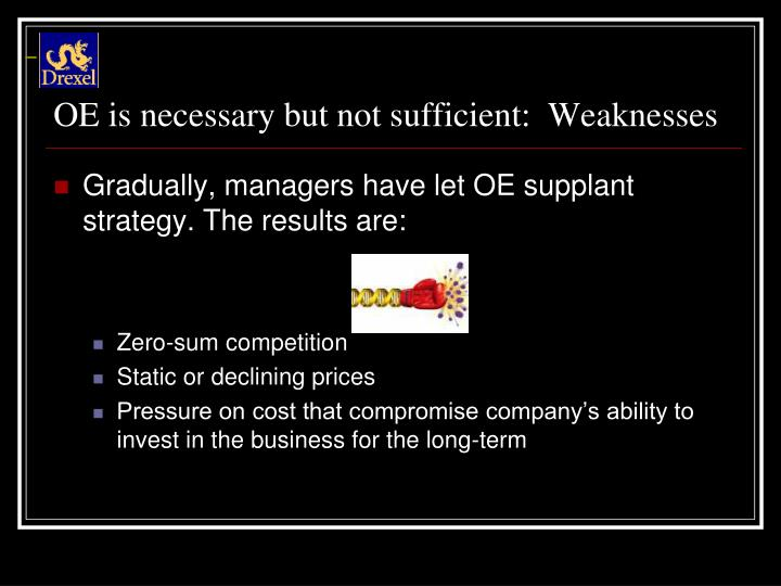 OE is necessary but not sufficient:  Weaknesses