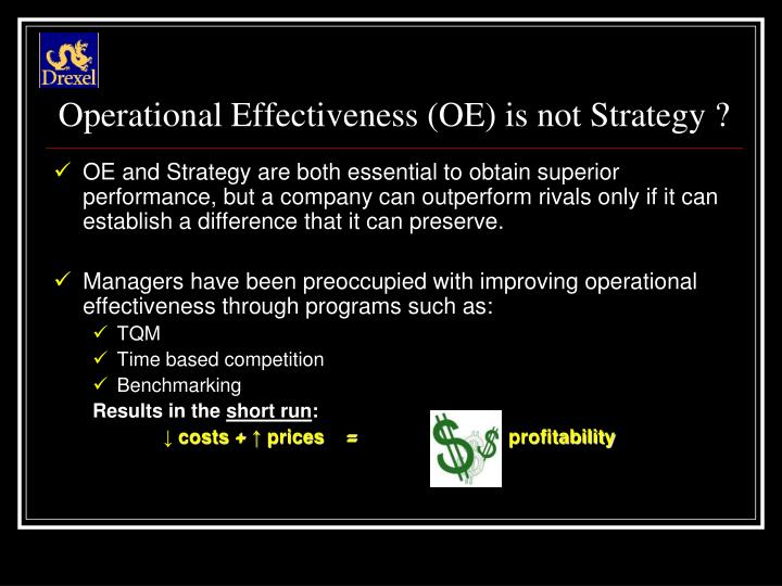 Operational Effectiveness (OE) is not Strategy ?