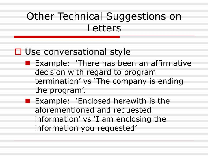 Other Technical Suggestions on Letters