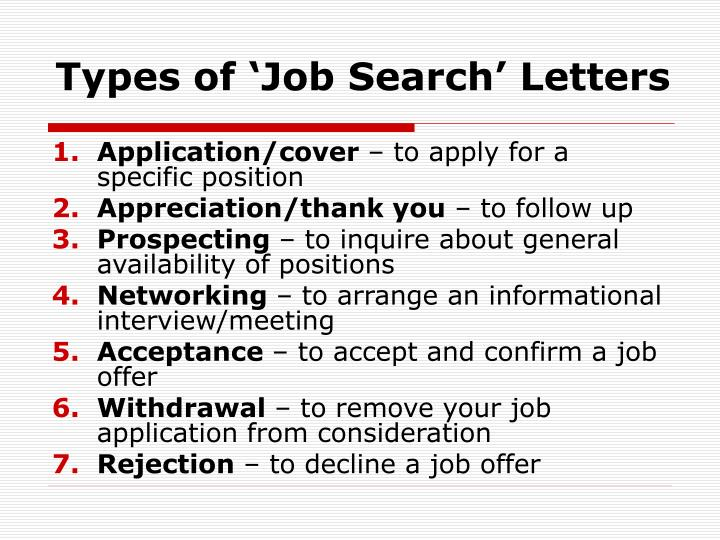 Types of job search letters