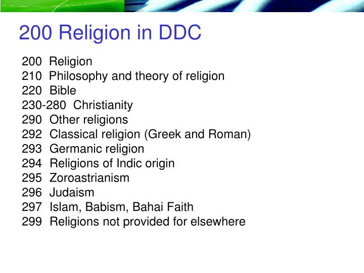200 Religion in DDC