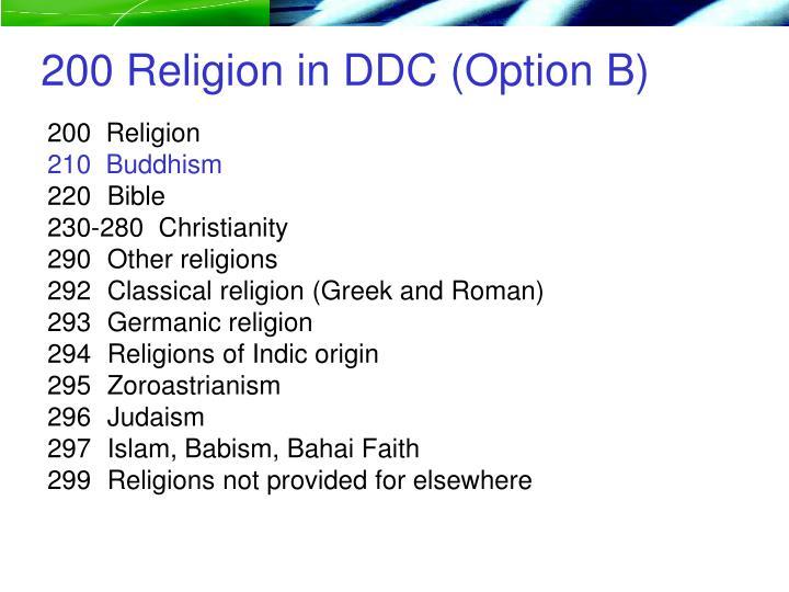 200 Religion in DDC (Option B)