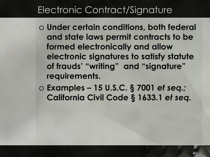 Electronic Contract/Signature