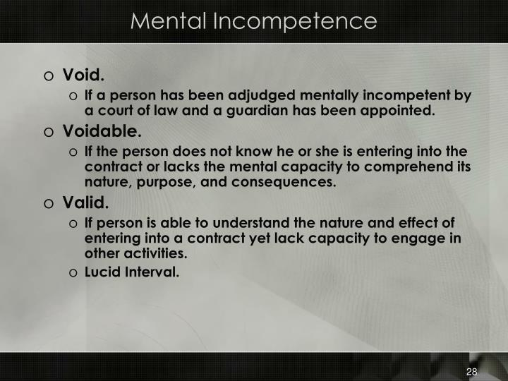 Mental Incompetence