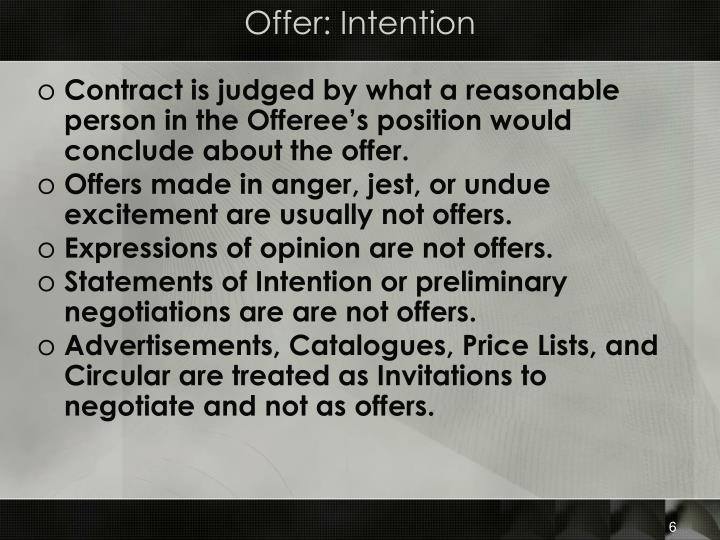 Offer: Intention