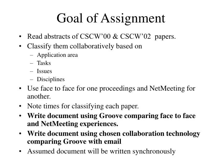 Goal of Assignment