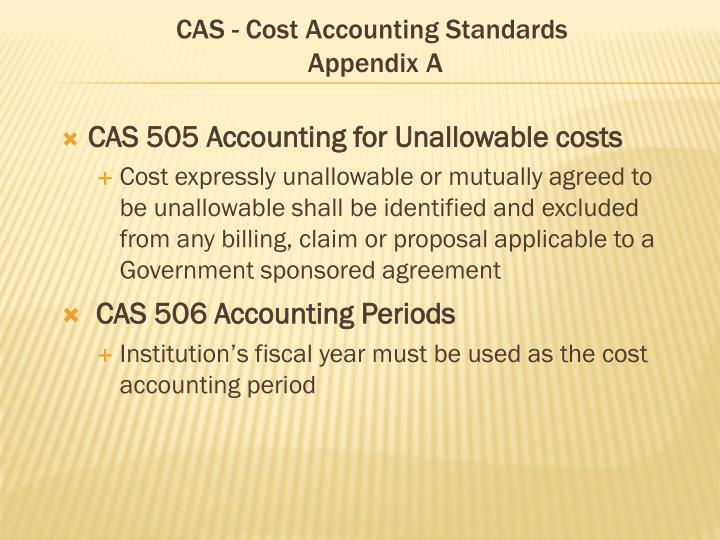 CAS - Cost Accounting Standards