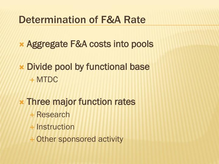 Determination of F&A Rate
