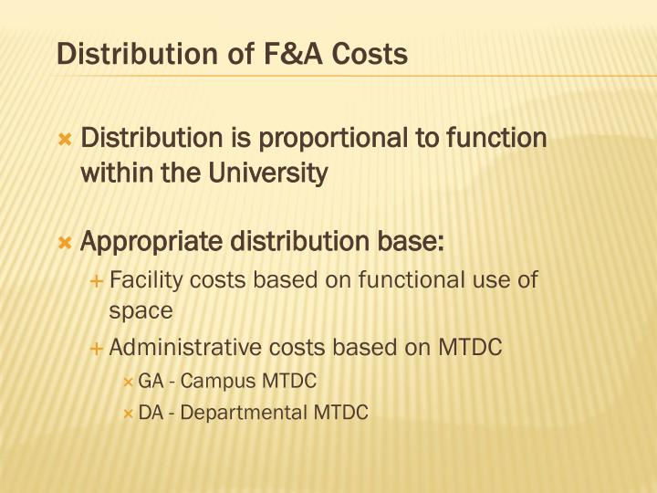 Distribution of F&A Costs