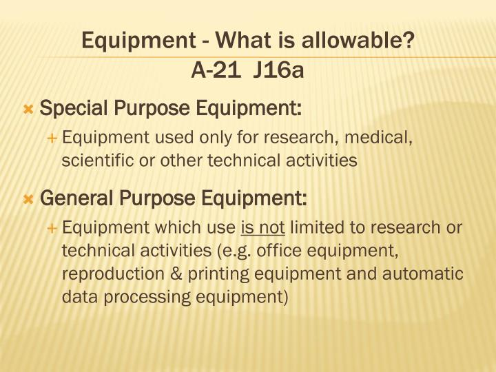 Equipment - What is allowable?