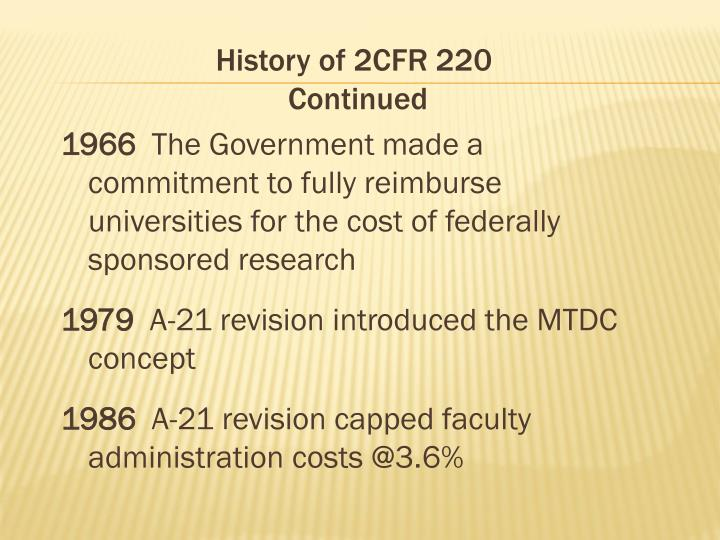 History of 2CFR 220