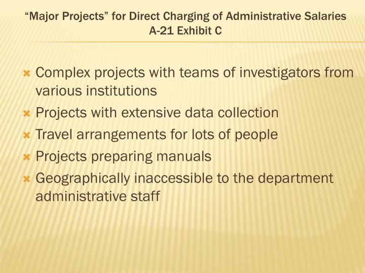 """""""Major Projects"""" for Direct Charging of Administrative Salaries"""