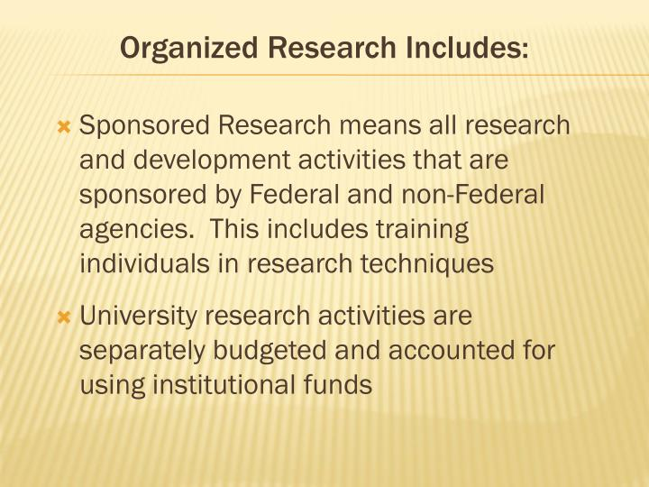 Organized Research Includes: