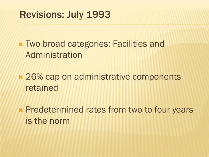 Revisions: July 1993