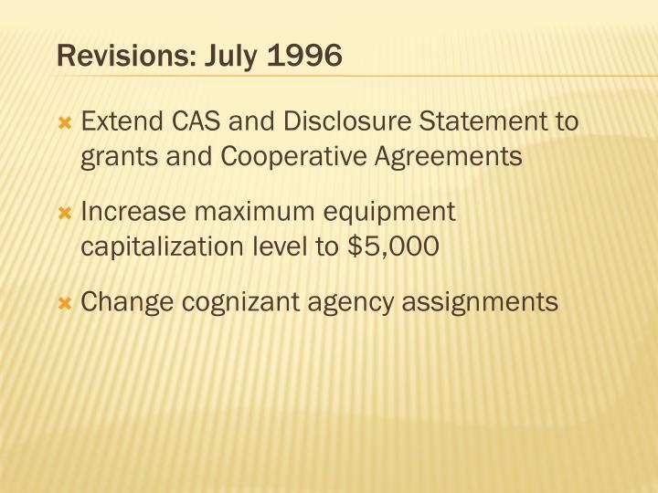 Revisions: July 1996