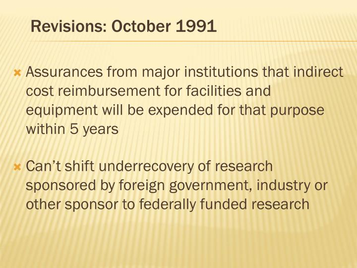 Revisions: October 1991
