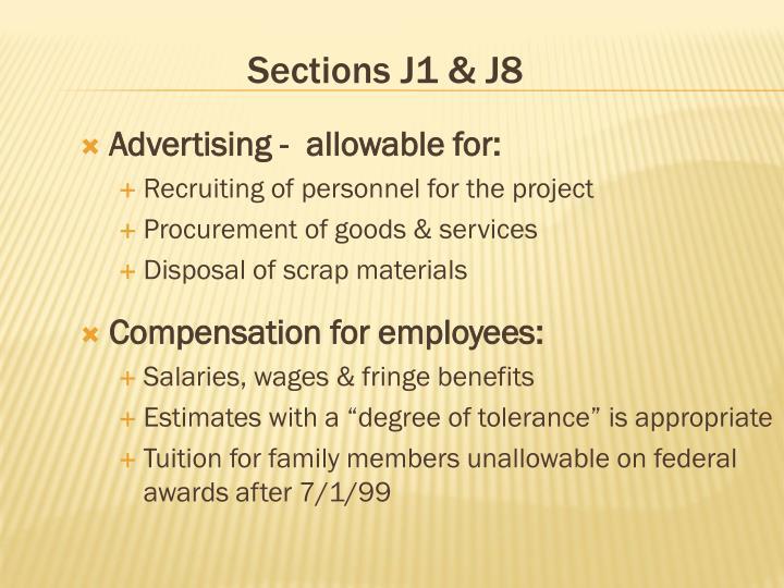 Sections J1 & J8