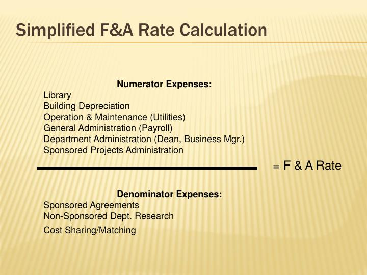 Simplified F&A Rate Calculation