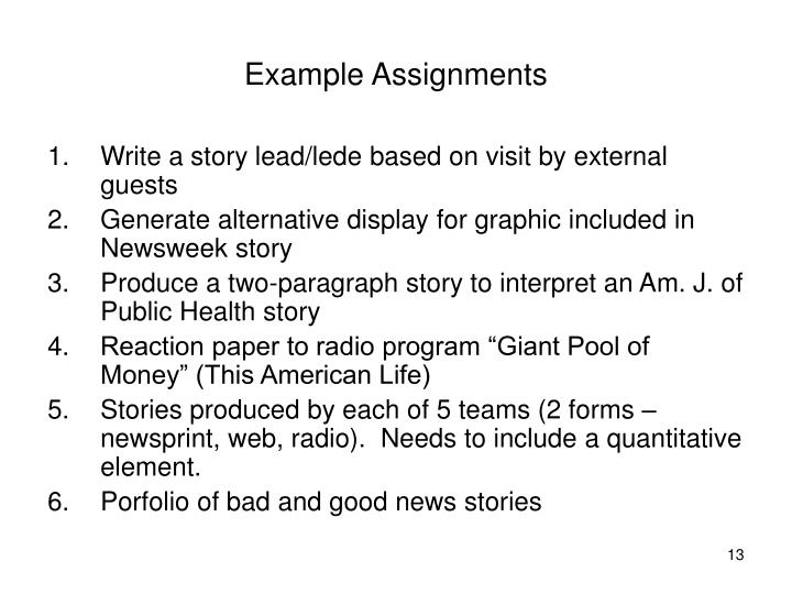 Example Assignments