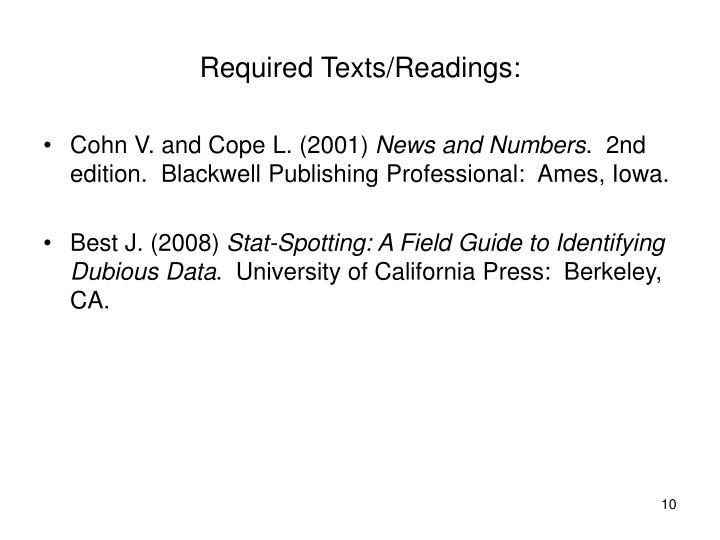 Required Texts/Readings: