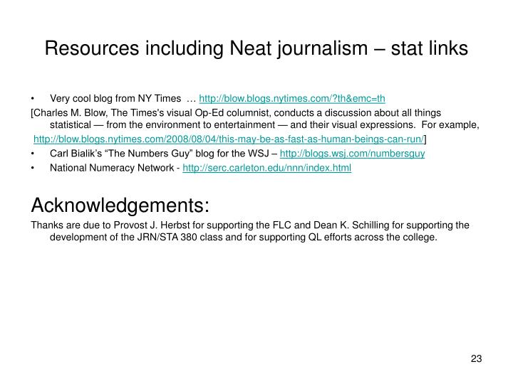 Resources including Neat journalism – stat links