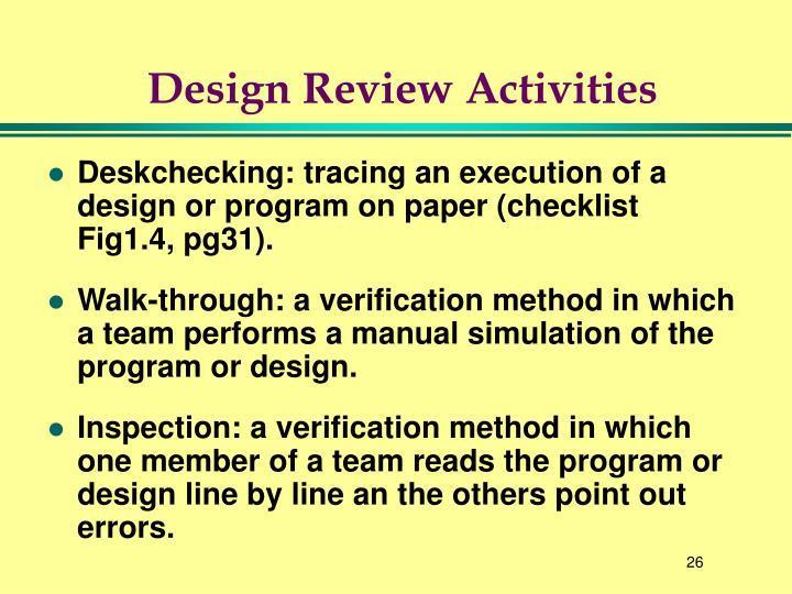 Design Review Activities