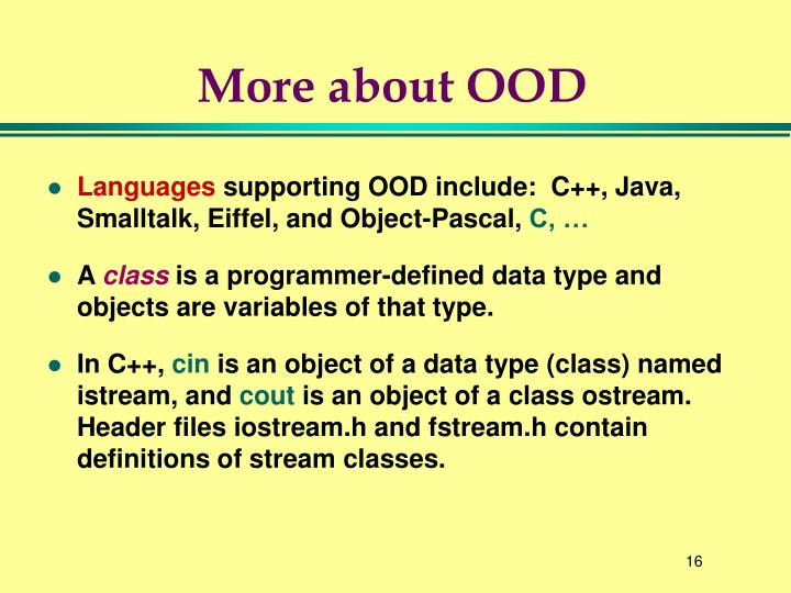 More about OOD