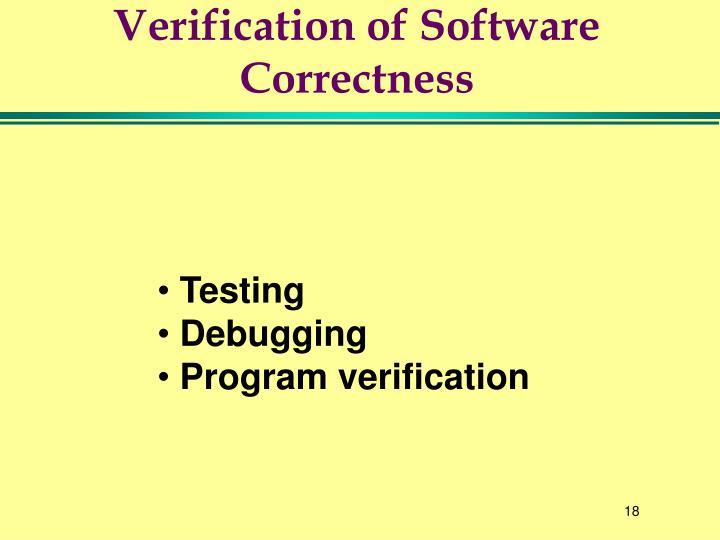 Verification of Software Correctness