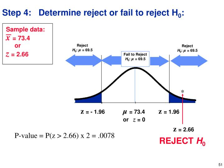 Step 4:   Determine reject or fail to reject H