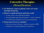 convective therapies hemofiltration