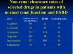 non renal clearance rates of selected drugs in patients with normal renal function and esrd