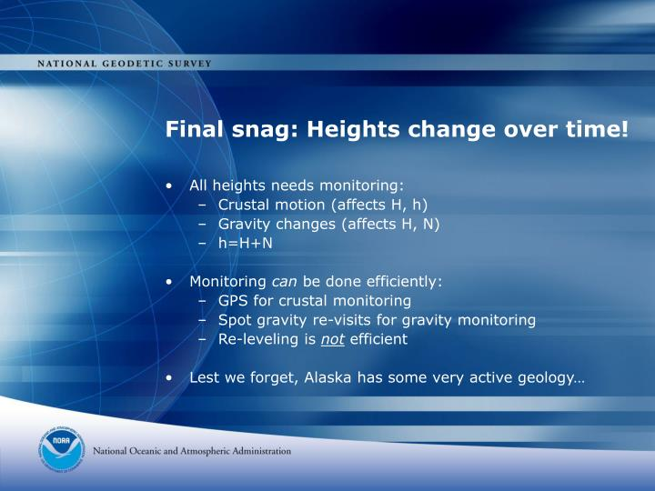 Final snag: Heights change over time!