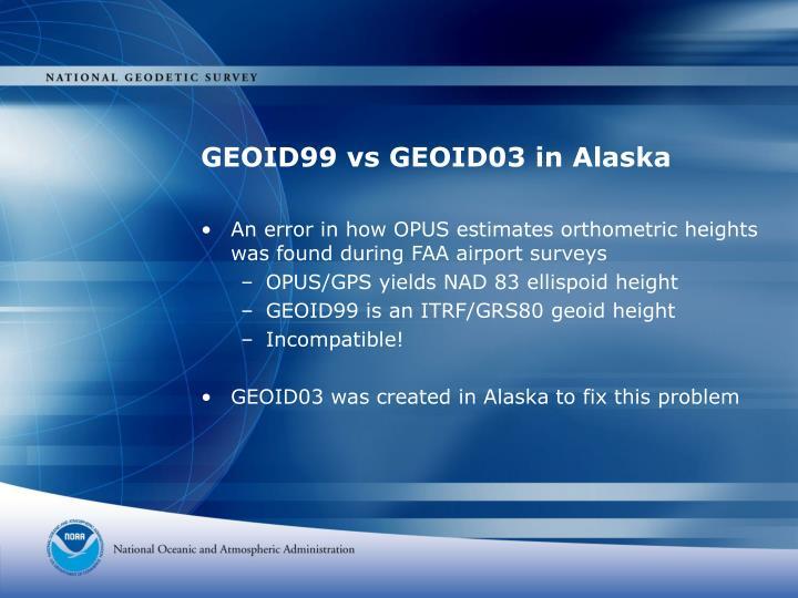 GEOID99 vs GEOID03 in Alaska