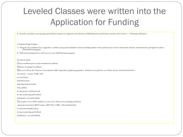 Leveled Classes were written into the Application for Funding