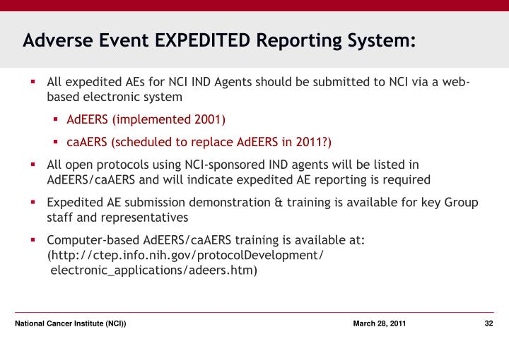 Adverse Event EXPEDITED Reporting System:
